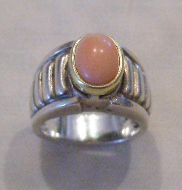 2226: Lagos Sterling & 18k Caviar Coral Ring