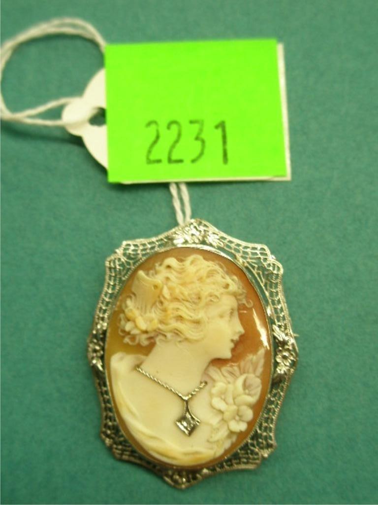 2231: 14k WG Cameo Habile Pin Pendant