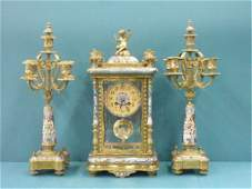 2344: 19th c. French Bronze and Champleve Clock Set