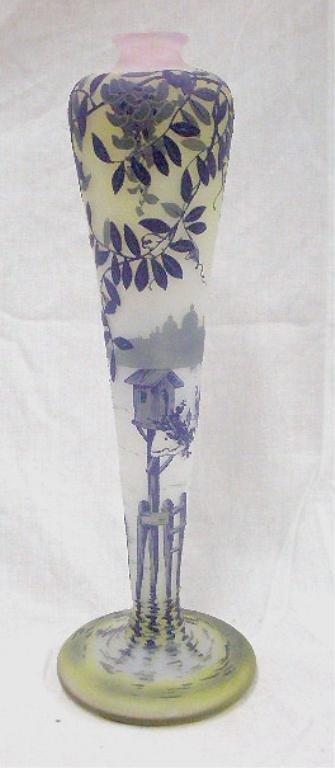 2362: De Vez 4 Color Cameo Glass Vase