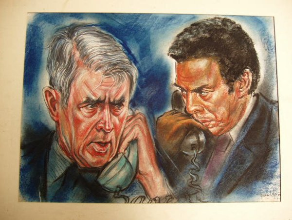 """7006: REITER """"CYRUS VANCE AND ANDREW YOUNG"""" SKETCH"""