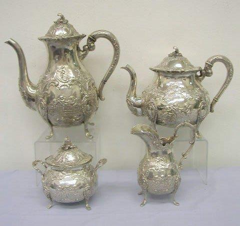 8006: Continental 800 silver 4 pc tea set