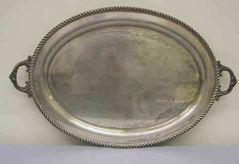 8008: Poole sterling silver oval serving tray