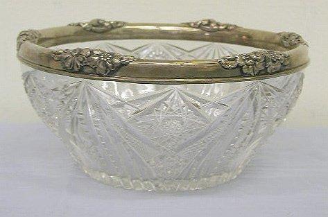 8013: Cut glass bowl w/ sterling repouse border