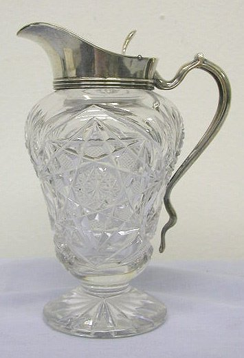 8014: Cut glass syrup w/ sterling lid & handle
