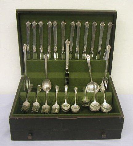 """8019: Royal Crest sterling """"Castle Rose"""" flatware set"""