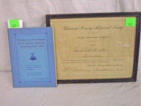 1002: Gloucester County (NJ) Hist. Society Certificate