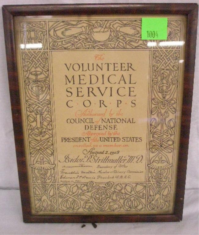 1004: WWI: Volunteer Medical Service Corps Certificate