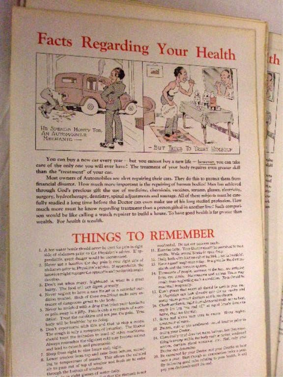"""1029: Posters """"Facts Regarding Your Health"""""""