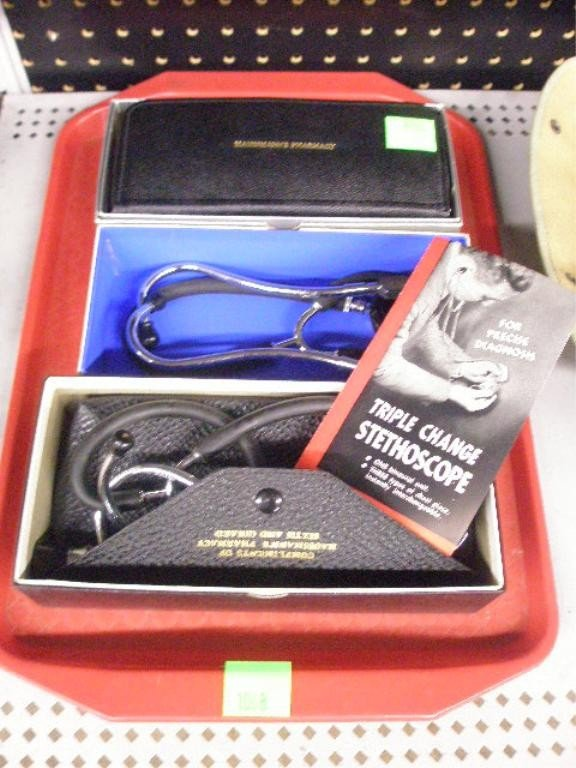 1068: Lot Of 3 Stethoscopes w/Cases & Original Boxes