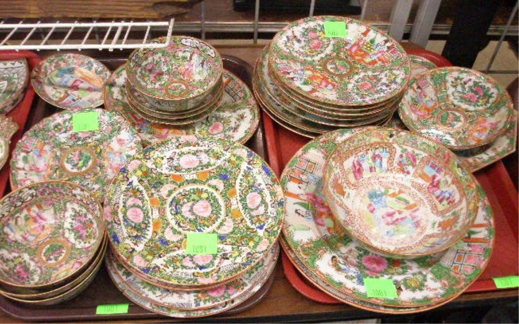 1001: 33 Rose Medallion Porcelain Plates, Bowls, Tray