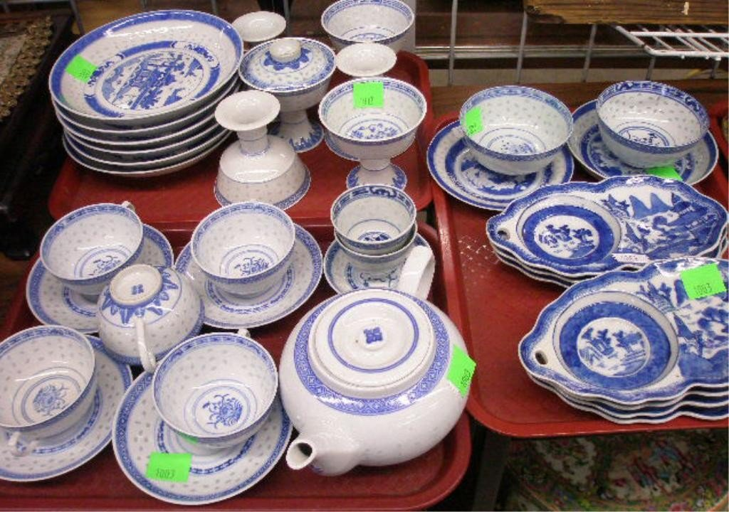 1003: 36 PC Chinese Porcelain Willow Pattern Tableware