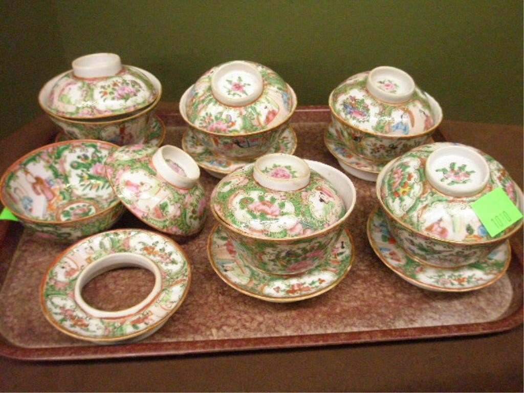 1010: 6 Similar Rose Medallion Covered Rice Cups