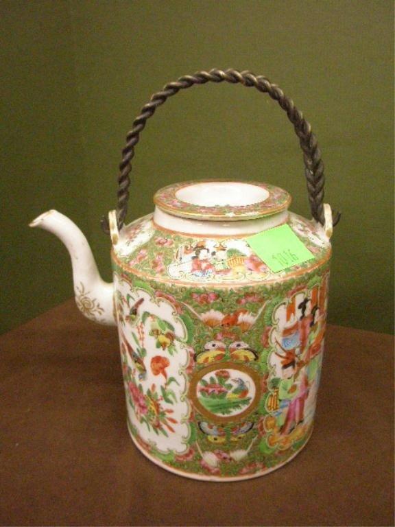 1016: Chinese Rose Mandarin Porcelain Teapot