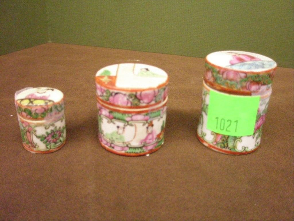 1021: 3 Rose Medallion Mini Spice Jars