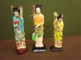 3 Ivory Polychromed Geisha Figures