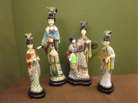 4 Chinese Cloisonne Goddess Figures