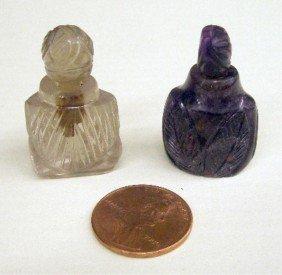 2 Chinese Mini Quartz Snuff Bottles