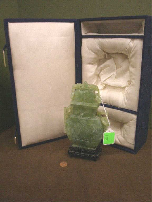 1124: Chinese Green Serpentine Covered Urn