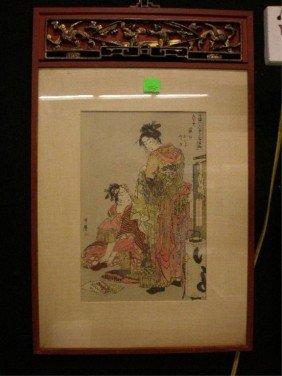 Japanese Wood Bock Print By Kitayawa Utamaro