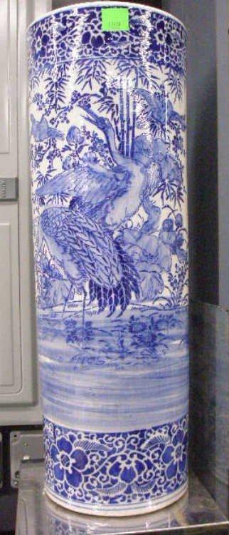 1208: Chinese Blue & White Umbrella Stand