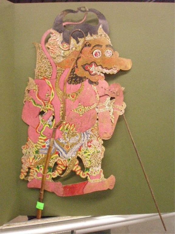 1208A: Indian Shadow Puppet, Polychromed Parchment