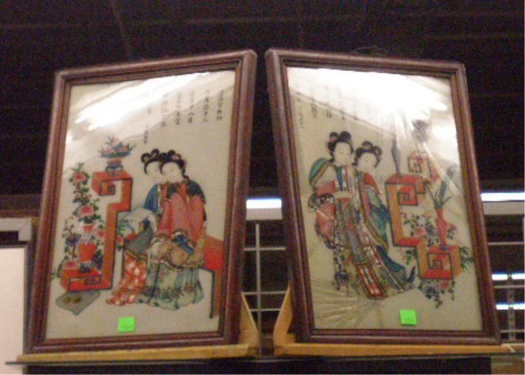 1209A: Pr Chinese Reverse Paintings On Glass of Geishas