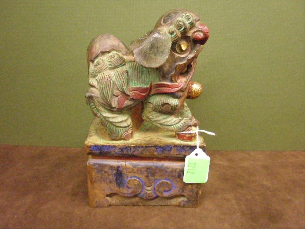 1212: 19th C. Polychrome Carved Wood Foo Dog