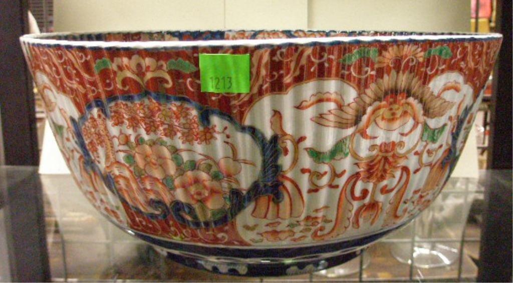 1213: Imari Porcelain Punch Bowl