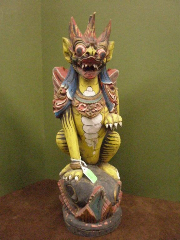 1217: Oriental Demonic Wood Carved Figure