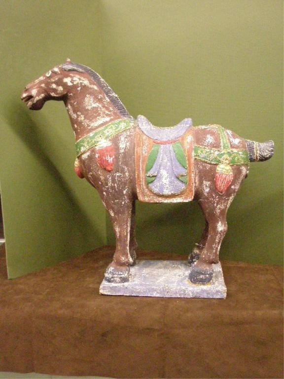 1219: Chinese Carved Wood & Polychromed Horse Sculpture