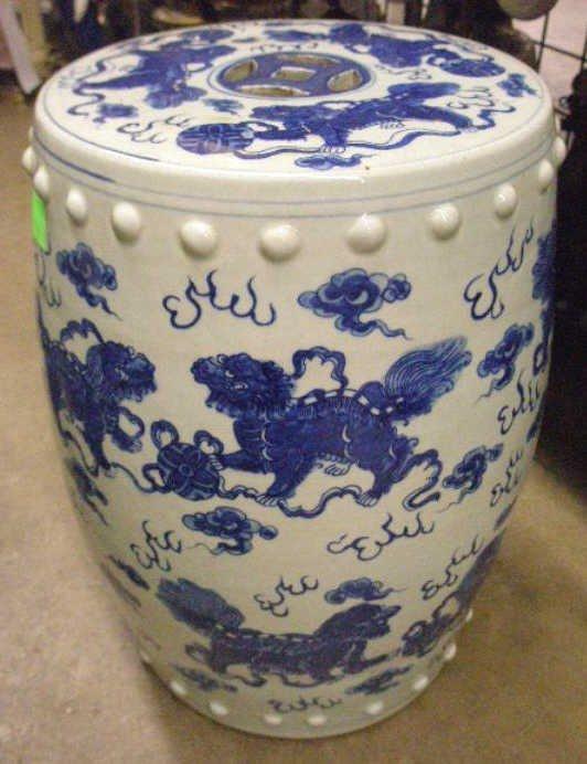 1220: Chinese Blue & White Porcelain Garden Seat