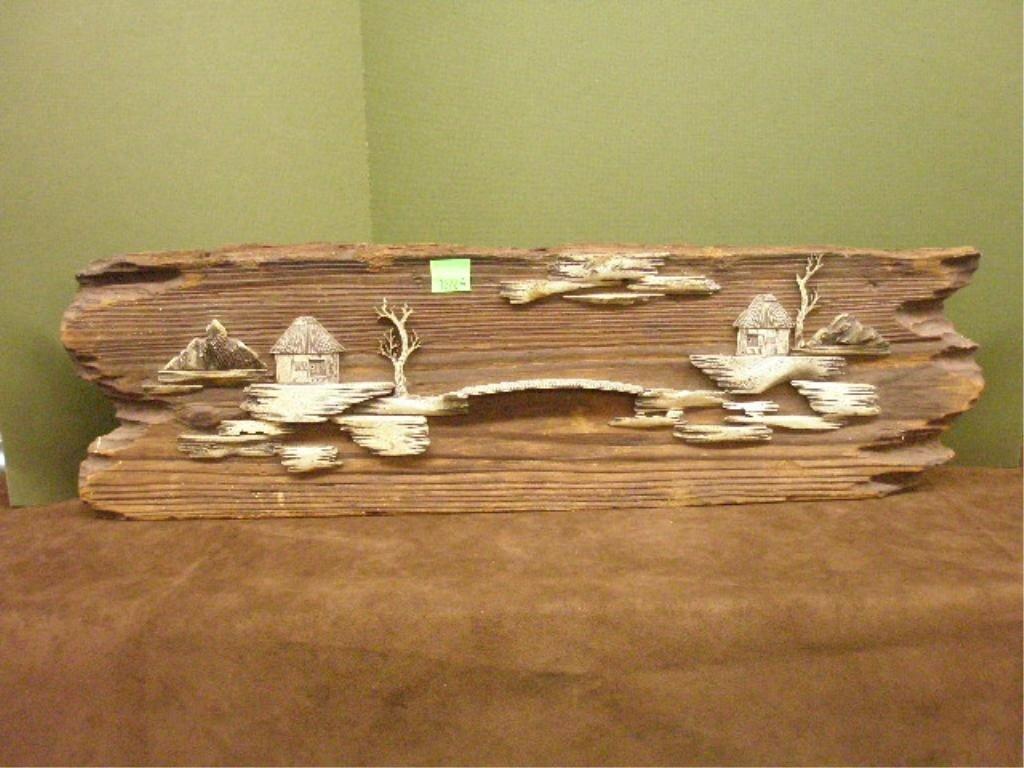 1220A: Japanese Bone & Wood Carved Panel