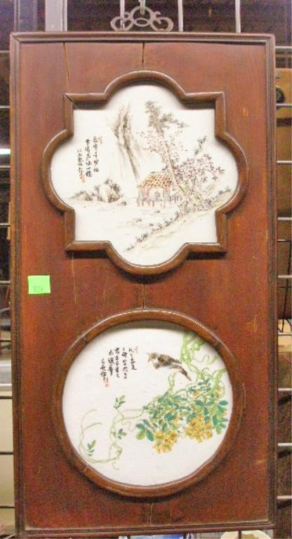 1229: Twin Chinese Porcelain Plaque Composition