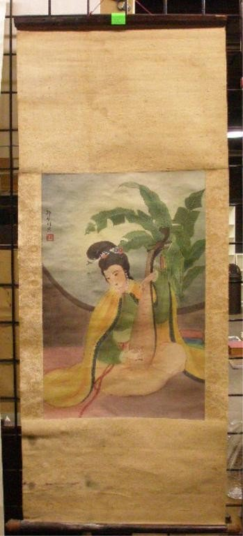 1230: Chinese Scroll, Watercolor On Silk of Geisha