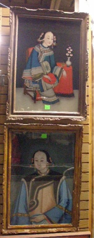 1234: 2 Chinese Reverse Paintings On Glass