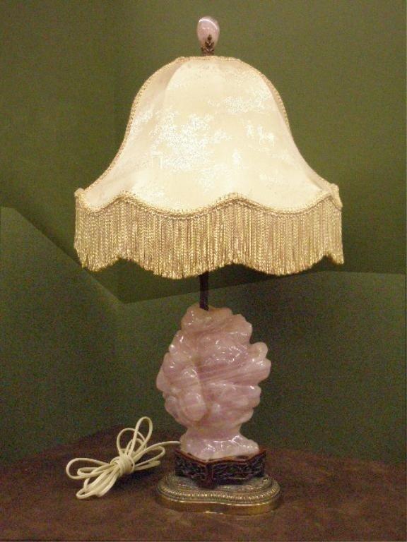 1238: Chinese Rose Quartz Boulder Form Vase/Lamp