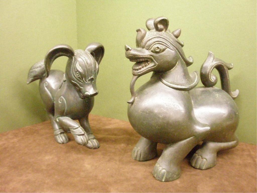 1239: 2 Chinese Bronze Foo Dogs