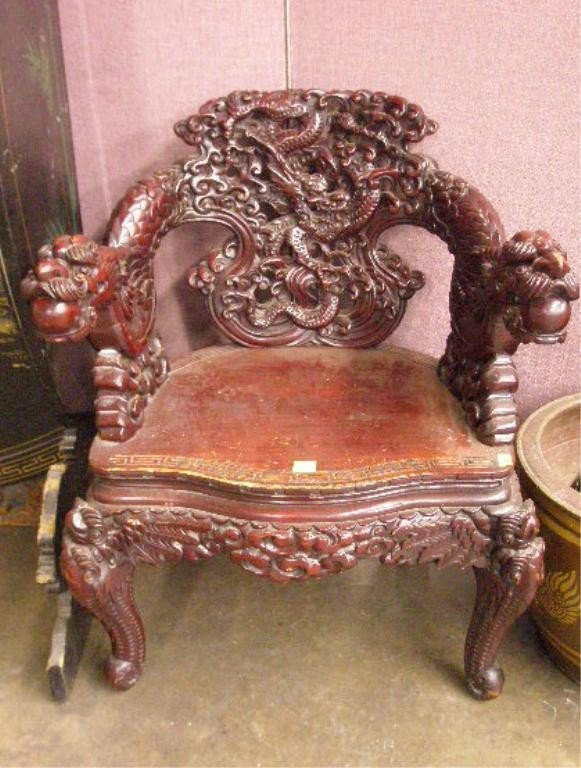 1242: Chinese Dragon Carved Arm Chair