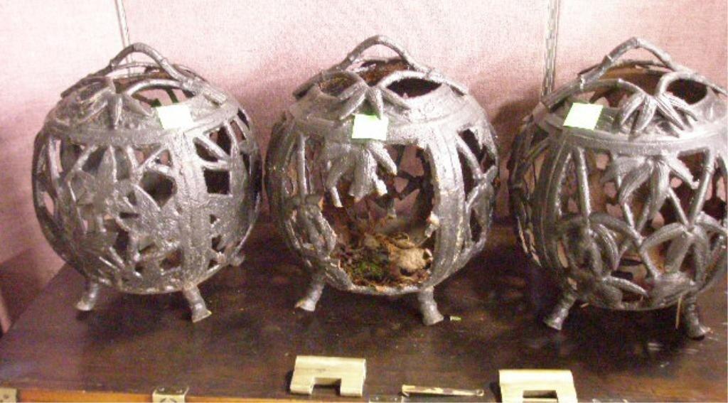 1244: Three Chinese Cast Iron Lanterns
