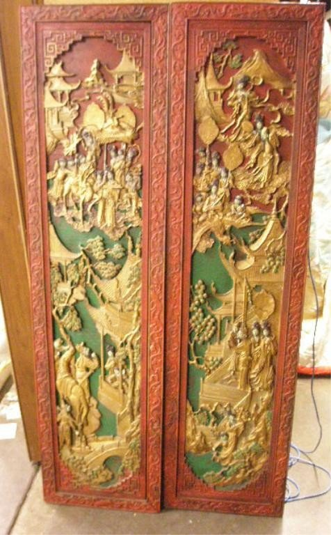 1250: Pr Chinese Relief Carved Wood Panels