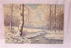 Raphael Senseman, w/c, Winter Landscape