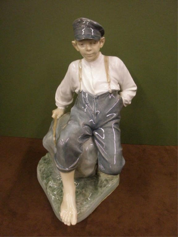 2001: Royal Copenhagen Boy on Rock Figure