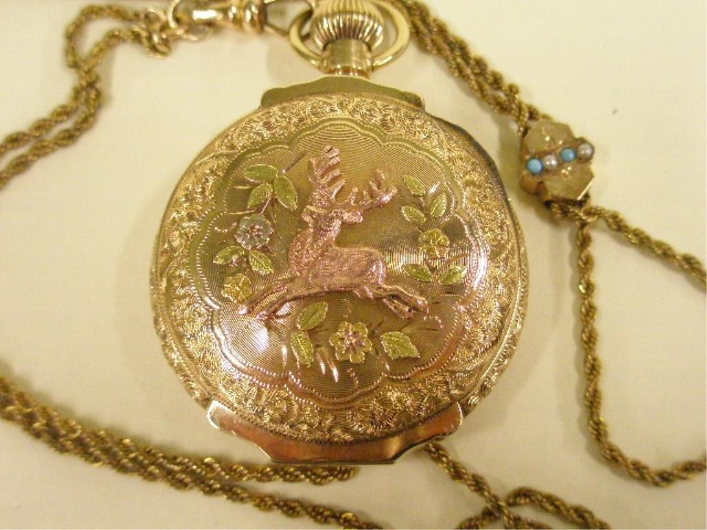 2253: Elgin 14k Hunter Case Pocket Watch