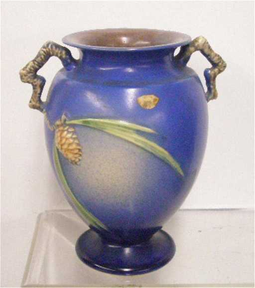 116 Roseville Pottery Blue Pinecone Vase
