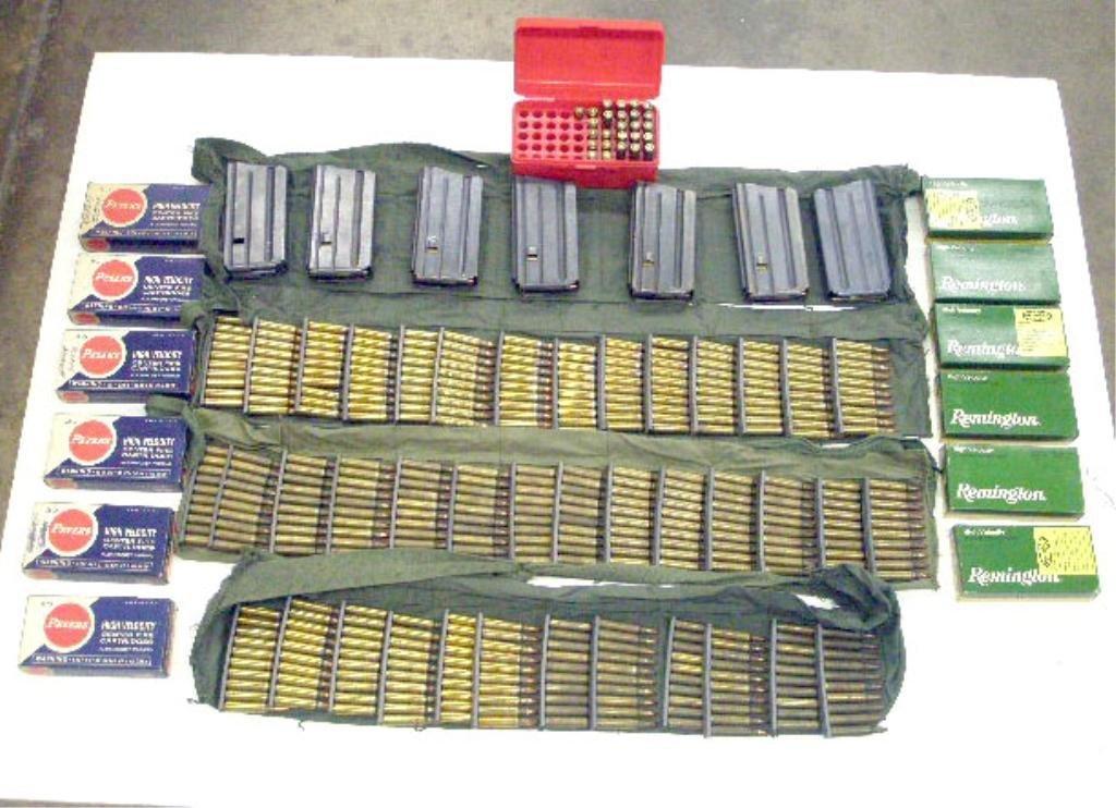 1000J: Box of Colt AR-15, 223 Cal. Clips & Ammo