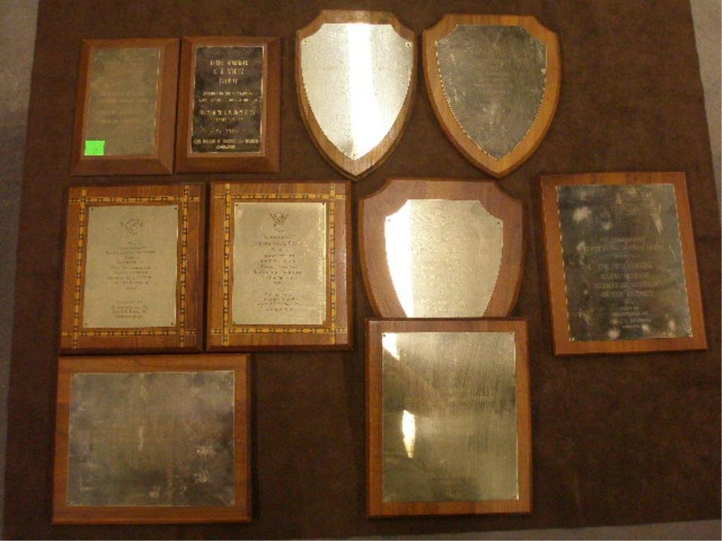 20: Lot of 10 Naval Presentation Plaques