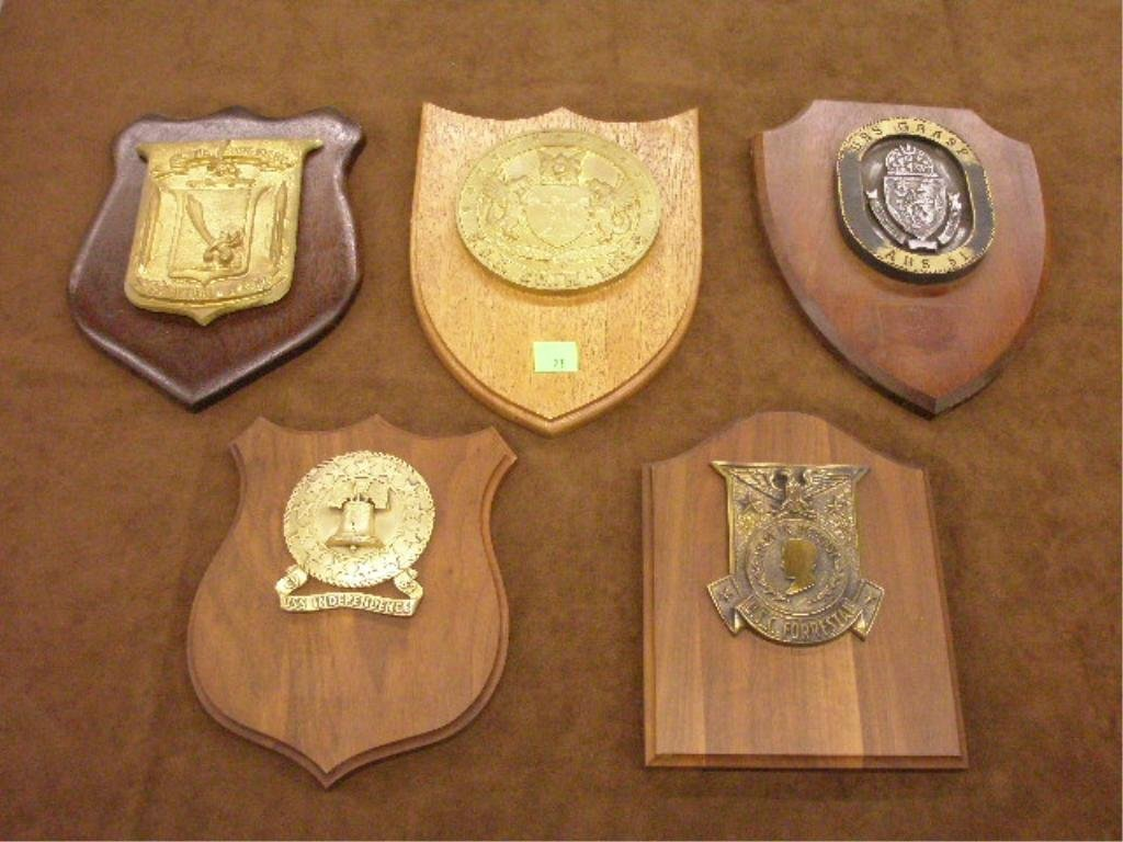 23: Lot of 5 Misc. Naval Presentation Plaques