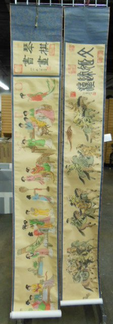 Three Chinese Scrolls On Silk