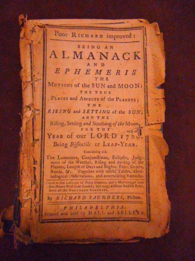 1053: (Almanac) Poor Richard Improved, Phila., 1780